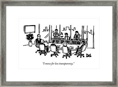 At A Corporate Board Meeting Framed Print