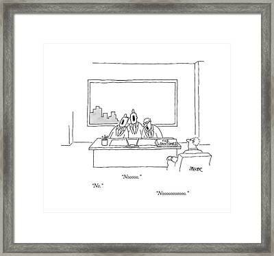 At A Desk, With A Placard That Says Framed Print by Jack Ziegler