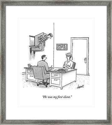 At A Marriage Counselor's Office Framed Print