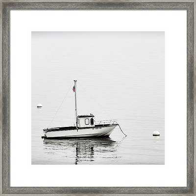 At Anchor Bar Harbor Maine Black And White Square Framed Print