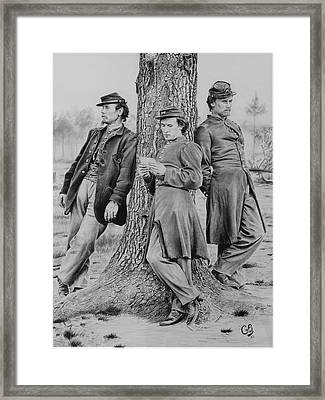 Framed Print featuring the drawing At Ease by Glenn Beasley