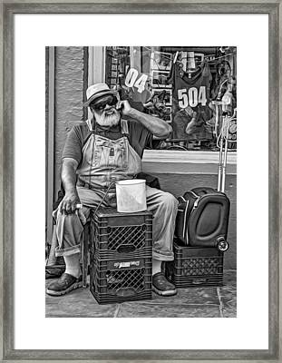 At His Office - Grandpa Elliott Small Bw Framed Print