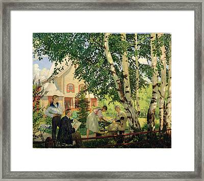 At Home, 1914-18 Oil On Canvas Framed Print by Boris Mikhailovich Kustodiev