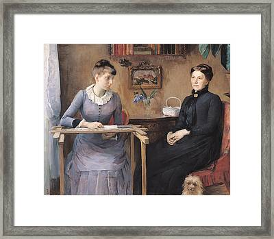 At Home Or Intimacy, 1885 Oil On Canvas Framed Print by Marie Louise Catherine Breslau