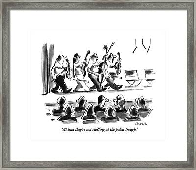 At Least They're Not Swilling At The Public Framed Print by Lee Lorenz