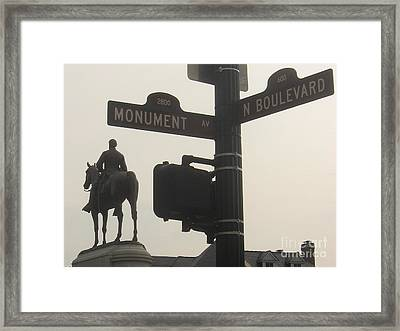 Framed Print featuring the photograph at Monument and Boulevard by Nancy Dole McGuigan