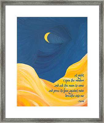 At Night With Rumi And The Moon Framed Print by Ginny Gaura