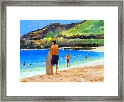 At Sandy Beach Framed Print