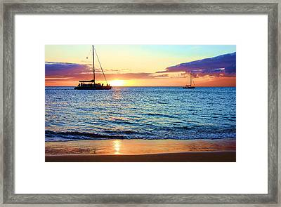 Framed Print featuring the photograph At Sea Sunset by Robert  Aycock