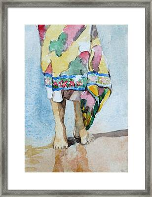 Framed Print featuring the painting At The Beach 1  by Becky Kim