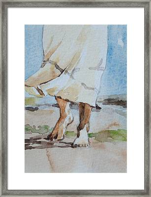 Framed Print featuring the painting At The Beach 2  by Becky Kim