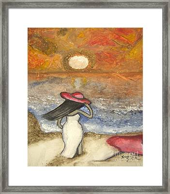 At The Beach Acrylic Abstract Art By Saribelle Framed Print by Saribelle Rodriguez