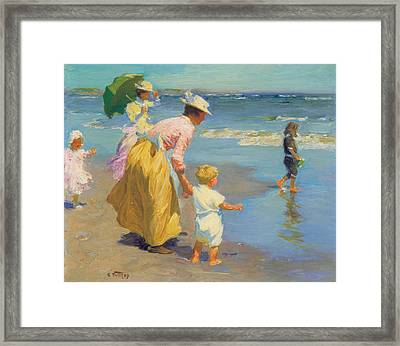 At The Beach Framed Print by Edward Potthast
