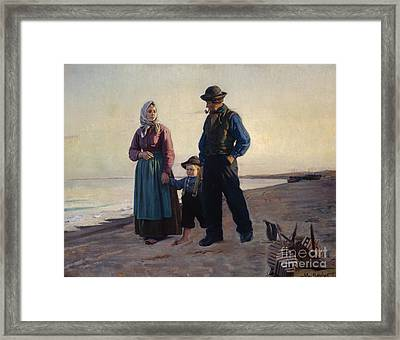 At The Beach Framed Print by Michael Ancher