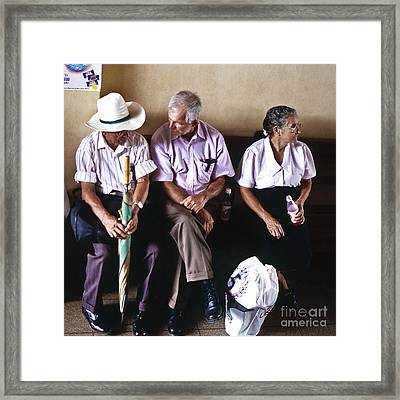At The Bus Station Framed Print by Heiko Koehrer-Wagner