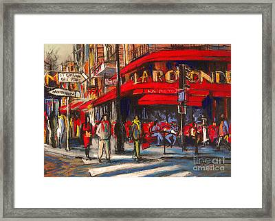 At The Cafe De La Rotonde Paris Framed Print by Mona Edulesco