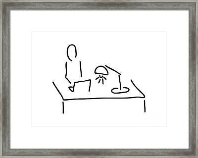 At The Desk With Laptop Framed Print by Lineamentum