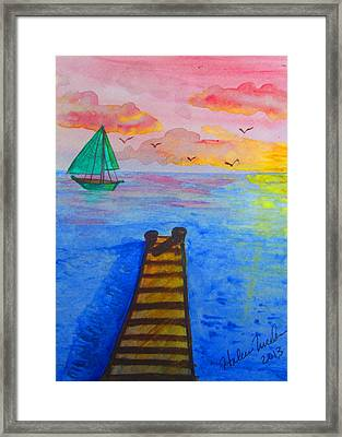 At The Dock Framed Print by Haleema Nuredeen