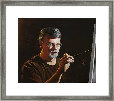 Framed Print featuring the painting At The Easel Self Portrait by Glenn Beasley