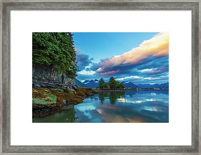 At The End Of Dock Point In Valdez, Low Framed Print by Zachary Sheldon