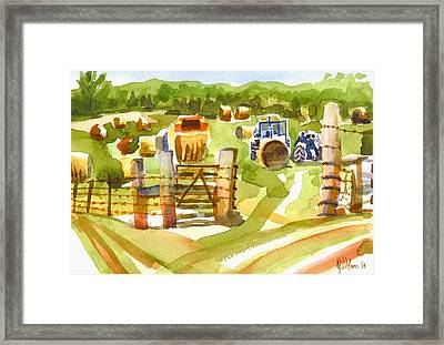 At The Farm Baling Hay Framed Print by Kip DeVore