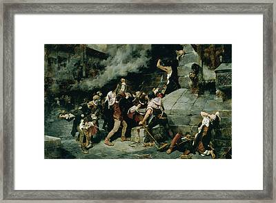 At The Feet Of The Saviour, Slaughter Of The Jews In The Middle Ages, 1887 Oil On Canvas Framed Print