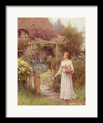 Country Cottage Drawings Framed Prints