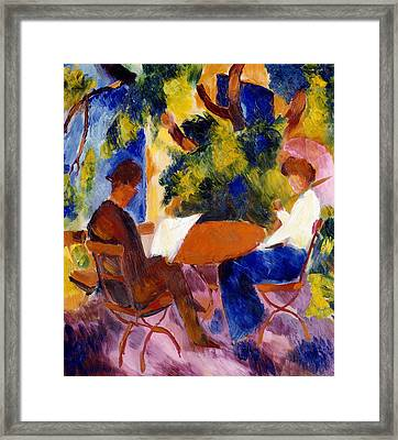 At The Garden Table Framed Print