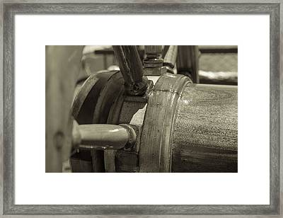 At The Helm Black And White Sepia Framed Print