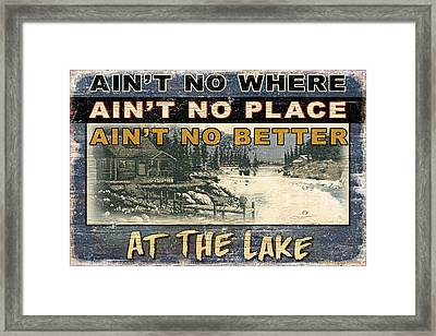 At The Lake Sign Framed Print by JQ Licensing