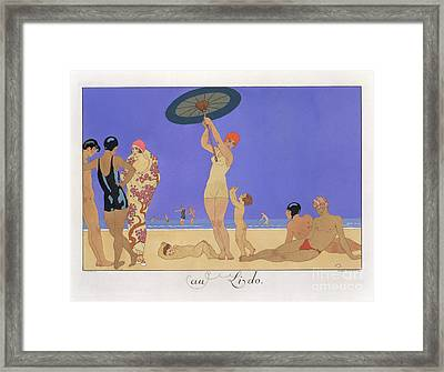 At The Lido Framed Print by Georges Barbier