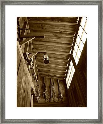 At The Museum - Sepia Framed Print