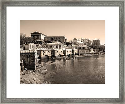 At The Philadelphia Waterworks In Sepia Framed Print by Bill Cannon