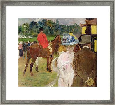 At The Races At Auteuil Framed Print by Leon Georges Carre