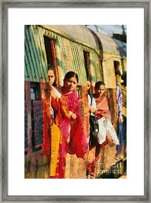 At The Railway Station Of Mumbai Framed Print by George Atsametakis