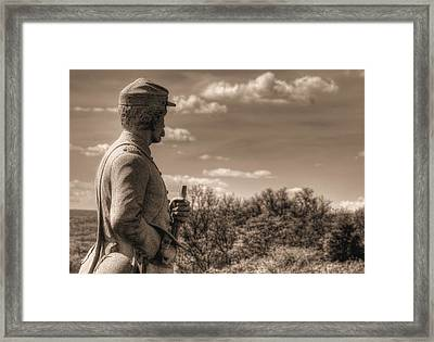 At The Ready - 84th Ny Vol Infantry 14th Brooklyn Regiment Red Legged Devils Railroad Cut Gettysburg Framed Print