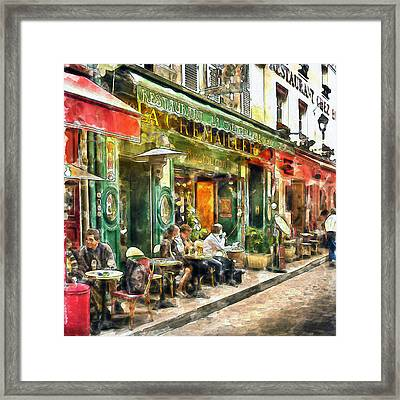 At The Restaurant In Paris Framed Print by Marian Voicu