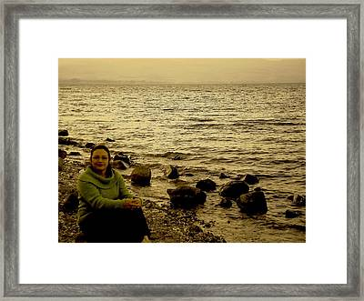 At The Shores Of The Sea Of Galilee Framed Print by Sandra Pena de Ortiz
