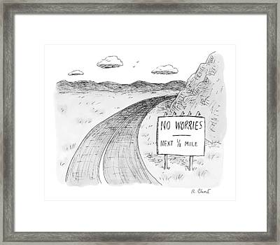 At The Side Of A Stretch Of Rural Road Framed Print