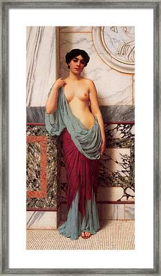 At The Thermae Framed Print by John William Godward