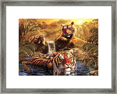 At The Waterhole Framed Print by Andrew Farley