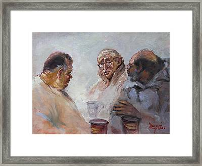 At Tim Hortons Framed Print by Ylli Haruni