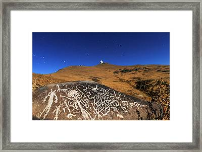Atacama Rock Art And Astronomical Observatories Framed Print by Babak Tafreshi/science Photo Library