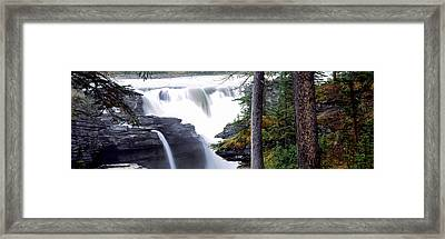 Athabasca Falls With Canadian Rockies Framed Print