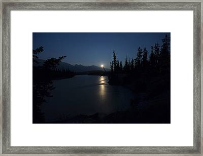 Athabasca River Moonrise Framed Print by Cale Best