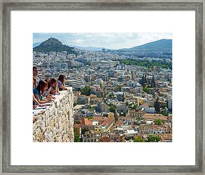 Framed Print featuring the photograph Athenian Scholars by Cheryl Del Toro