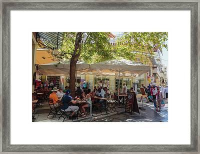 Athens, Greece.  Scene In Plaka Framed Print