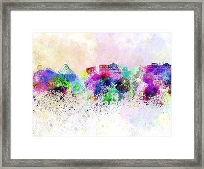 Athens Skyline In Watercolor Background Framed Print