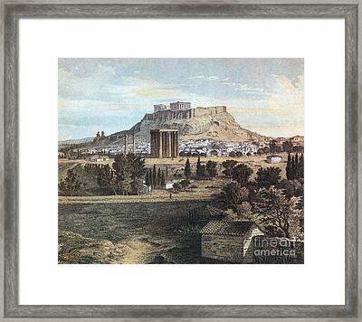 Athens With The Acropolis Framed Print
