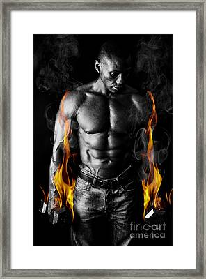 Athletic Muscular Young Man With Weights On Fire For Motivation  Framed Print by Jt PhotoDesign